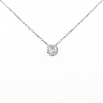 K18WG ソリティア ダイヤモンドネックレス