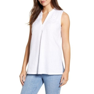 トッミーバハマ レディース カットソー トップス Coastalina Embroidered Sleeveless Linen Tunic Top WHITE