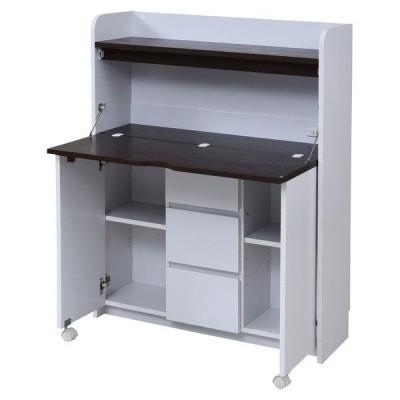 パソコンデスク 机 PCデスク おしゃれ 安い オフィスデスク コンパクト スリム 収納 折りたたみ 本棚 ラック 白 引出 木製 幅90