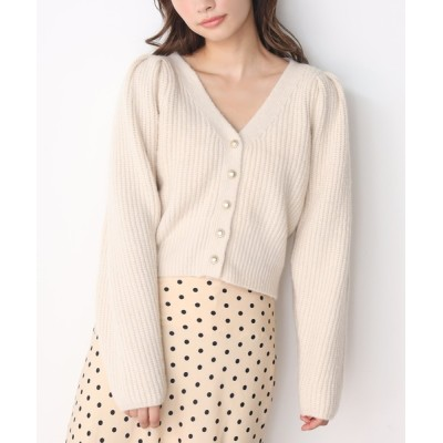 one after another NICE CLAUP / パフ袖ニットカーディガン WOMEN トップス > カーディガン