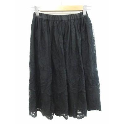 【中古】アーバンリサーチ URBAN RESEARCH スカート フレア ひざ丈 レース 刺繍 F 黒 ブラック /CT レディース