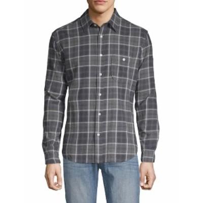 7 フォー オールマンカインド Men Clothing Brushed Plaid Cotton Button-Down Shirt