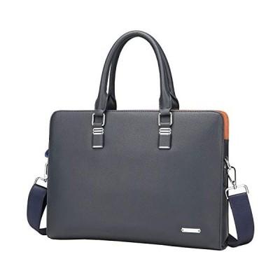 FSDWG ビジネスバッグ 本革 A4サイズ対応 防水 ビジネスバック ブラック ブルー (ブルー L)