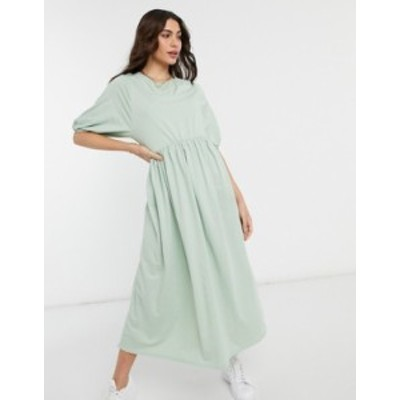 エイソス レディース ワンピース トップス ASOS DESIGN gathered neck midi smock dress in green Green