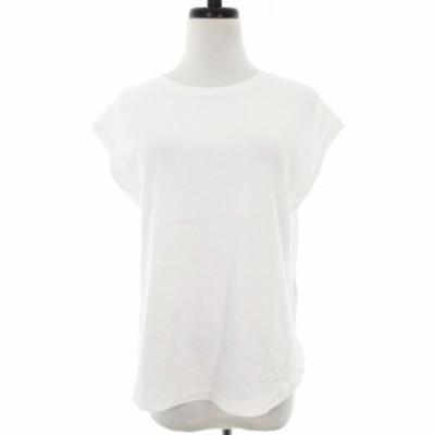 【中古】ナノユニバース Tシャツ カットソー 半袖 ラウンドカット スリット コットン 無地 38 白 トップス レディース
