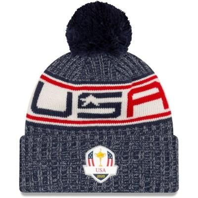 即納 ニューエラ メンズ ニット帽 2020 Ryder Cup New Era USA Cuffed Knit Hat with Pom - Graphite