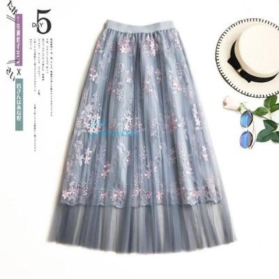 スカート ロング レディース 可愛い 花柄 aラインスカート 刺繍 ミモレ丈 きれいめ 春物 20 おしゃれ チュールスカート 体型カバー ボトムス フレア 30
