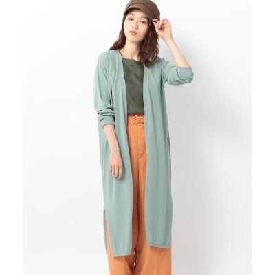 【ミューズ リファインド クローズ】 ウォッシャブルUVロングカーディガン レディース ライト グリーン M MEW'S REFINED CLOTHES