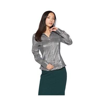 [ナラ カミーチェ] クリスタル釦付グレンチェックスタンドカラーシャツ 10-82-01-055 レディース ブラック 日本 S (