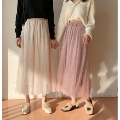 オルチャン 韓国 ファッション チュールスカート ロングスカート ウエストゴム ラメ キラキラ ハイウエスト ゆったり ガーリー