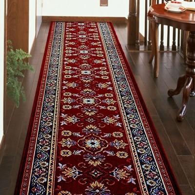 廊下敷き 廊下マット ベルギー製 廊下用絨毯 〜ラリスタン〜 レッド 幅79cm×長さ240cm