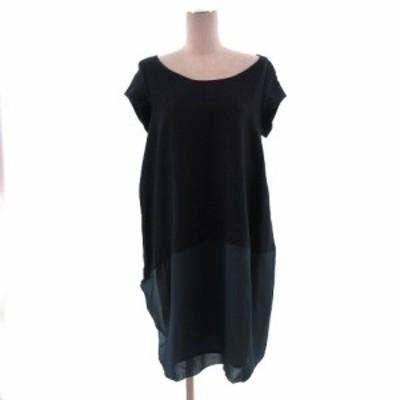 【中古】アルミナ ALUMINA ワンピース 半袖 切替 バルーン 日本製 ネイビー 紺 ブラック 黒 グリーン系 青緑 38