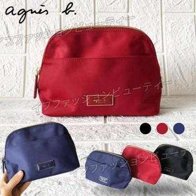 agnes b. アニエスベー  化粧ポーチ 収納バッグ ウォッシュ バッグ ナイロン 化粧品収納 洗面用具入れ 軽量 大容量 旅行 かわいい ミニサイズ