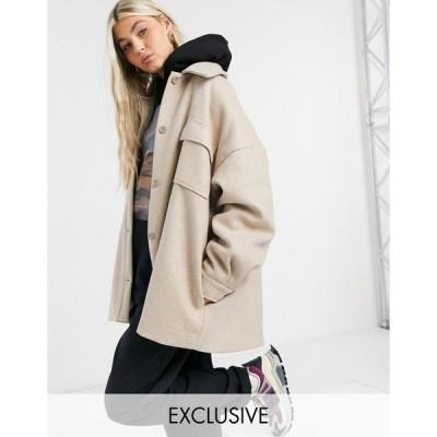 コリュージョン レディース ジャケット&ブルゾン アウター COLLUSION faux-wool coach jacket in oatmeal Brown
