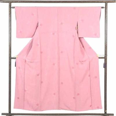 リサイクル着物 小紋 正絹ピンク地立涌地模様袷小紋着物