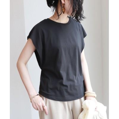 (and Me.../アンドミー)フレンチスリーブ脇見え防止デザインTシャツ/レディース ブラック