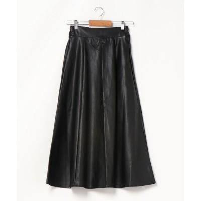 スカート フェイクレザーロングフレアスカート