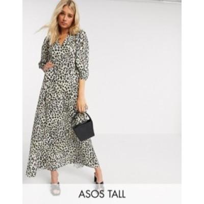 エイソス レディース ワンピース トップス ASOS DESIGN Tall exclusive trapeze maxi dress with puff sleeve in leopard print Leopard