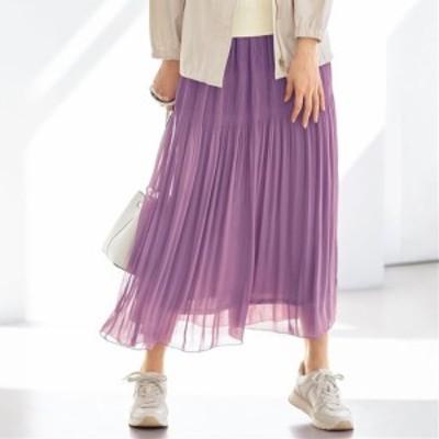 レディースファッション 【バーゲン】部分プリーツロングスカート(手洗いOK) S(58~64) M(64~70) L(69~77) LL(77~85)|3859-597771