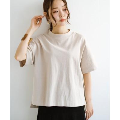 【ハコ】 じゃぶじゃぶ洗えて毎日づかいに便利!コーデに迷わず便利なモックネックTシャツ レディース ベージュ S haco!