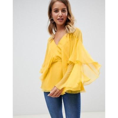 エイソス レディース カットソー トップス ASOS DESIGN long sleeve v neck top with floaty sleeve detail Yellow