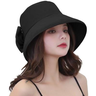 Caseeto ハット レディース 後ろがリボン UVカット 帽子 紫外線対策 熱中症予防 折りたたみできる つば広 小顔効果抜群