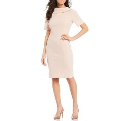 アドリアナ パペル レディース ワンピース トップス V-Back Foldover Collar Short Sleeve Sheath Dress Blush