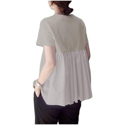 半袖 Tシャツ トップス バックフリル きれいめ ゆったり 無地 薄手 春 夏 tシャツ コットン 綿 ポリエステル おしゃれ フリル カットソー 白