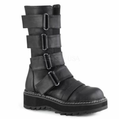 DEMONIA デモニア ミドルブーツ 厚底 ラバーソール 3 cm センチ ヒール 黒 ブラック つや消し 合皮 ストラップ ジッパー 小さいサイズ 大
