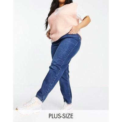 ニュールック レディース デニムパンツ ボトムス New Look Curve waist enhance mom jeans in mid blue