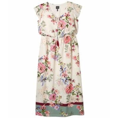 アドリアナ パペル レディース ワンピース トップス Plus Size Floral Border Print Maxi Dress Ivory Multi