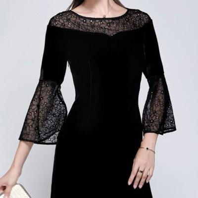エレガントスリムドレス 黒のレース トランペットスリーブ