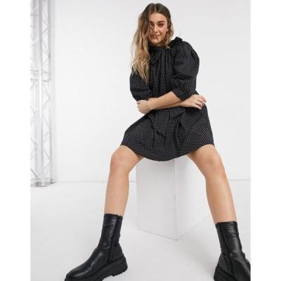 インフルエンス レディース ワンピース トップス Influence neck bow polka-dot mini smock dress in black Black/white