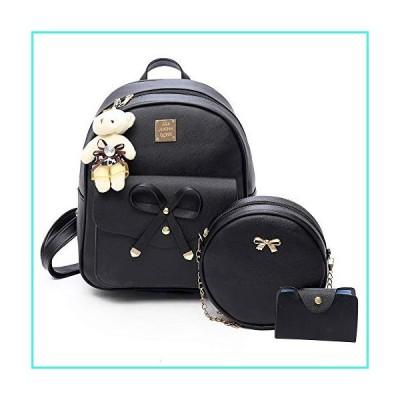 【新品】ZGWJ Mini Leather Backpack Purse Bowknot Small Backpack Cute Casual Travel Daypacks for Girls Women(3-Pieces)(並行輸入品)