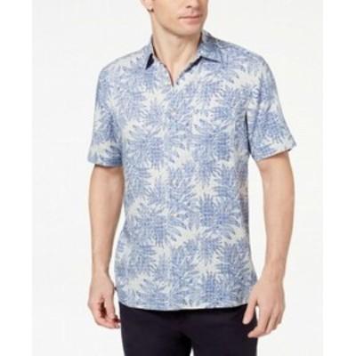 ファッション アウター Tasso Elba NEW Blue Mens Size Small S Medallion Button Up Shirt Silk