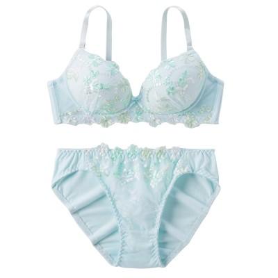 綿混 マルチカラーフラワー刺繍 ノンワイヤーブラジャー。ショーツセット(M) (ブラジャー&ショーツセット)Bras & Panties