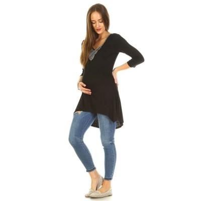 ホワイトマーク カットソー トップス レディース Maternity Calla Embellished Tunic Top Black