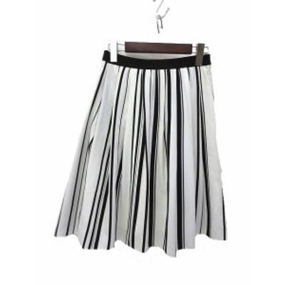 【中古】ANAYI アナイ ストライプ ひざ丈 フレア スカート 38 ホワイト ブラック レディース