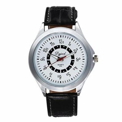 LANDFOXレザー腕時計、男性スポーツアナログクォーツ腕時計