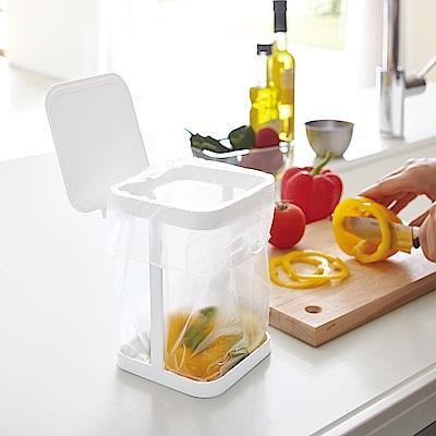 日本【YAMAZAKI】tower桌上型垃圾袋架-有蓋(白)★廚房收納/小型垃圾桶架/桌上垃圾桶