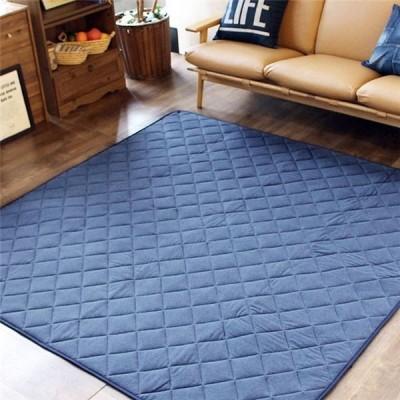 快適ニット素材 キルトラグマット/絨毯 〔ネイビー 約190cm×190cm シンプルデザイン〕 正方形 綿100% 〔リビング〕