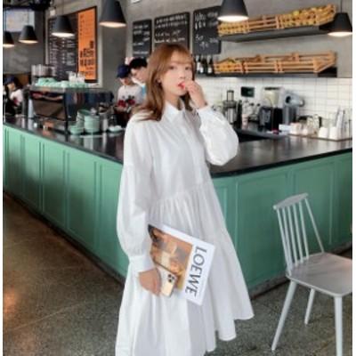 韓国 ファッション レディース シャツワンピース ひざ丈 ティアード フレア ゆったり 長袖 カジュアル ガーリー 大人可愛い 秋冬