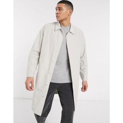 エイソス ASOS DESIGN メンズ コート アウター commuter coat with contrast binding in stone ベージュ