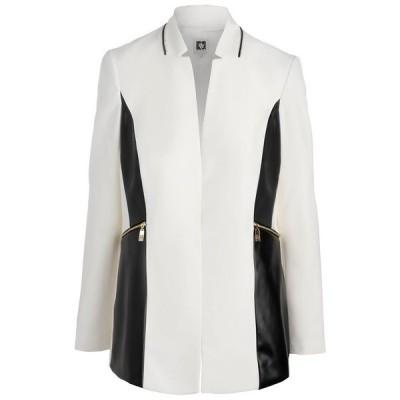 アンクライン ジャケット&ブルゾン アウター レディース Colorblocked Faux-Leather Trim Jacket Lily White
