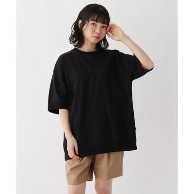 tシャツ Tシャツ 抗菌防臭 ビッグシルエット リブ仕様 ロゴワンポイント刺繍Tシャツ