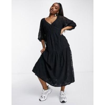 エイソス レディース ワンピース トップス ASOS DESIGN wrap tiered midi dress in star mesh in black Black
