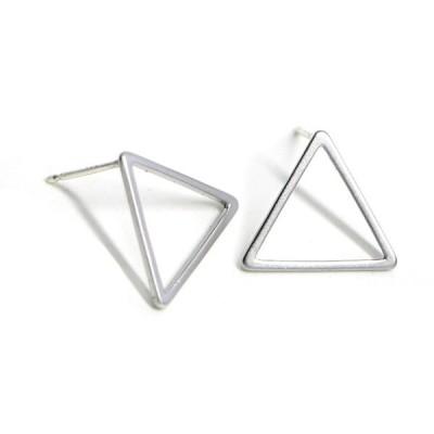 【1ペア】925刻印芯!15*1mm 三角形マットシルバー、シルバー925芯ピアス、パーツ