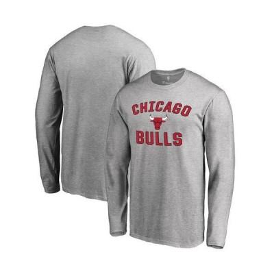 メンズ スポーツリーグ バスケットボール Men's Gray Chicago Bulls Victory Arch Long Sleeve T-Shirt Tシャツ