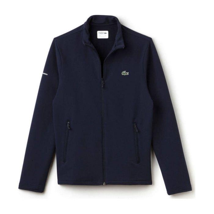美國百分百【全新真品】法國 Lacoste 鱷魚 軟殼 立領 夾克 外套 修身 抗UV 男 深藍 S號 I696