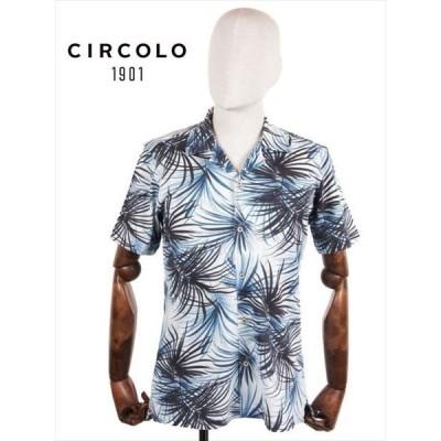 CIRCOLO1901 チルコロ1901 ボタニカル柄 アロハシャツ コットンジャージー 半袖 ブルー 花柄 ストレッチ 国内正規品